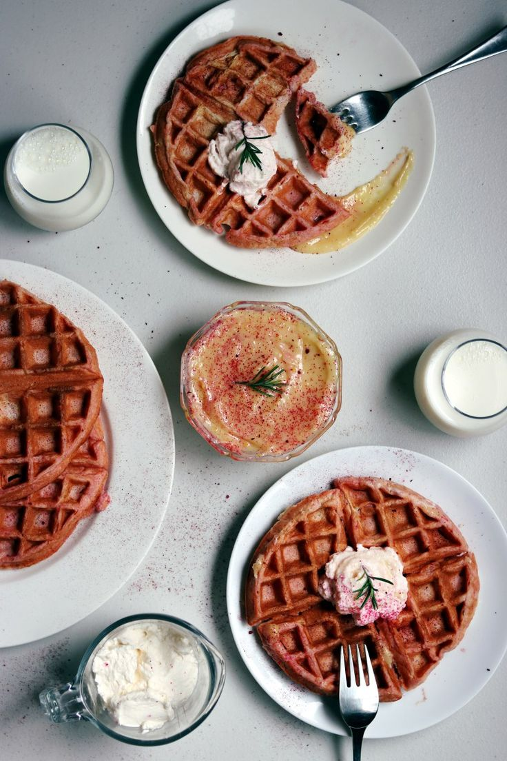Pink rosemary and lemon Belgian waffles are the perfect way to impress while hosting brunch or whip them up for a holiday like Easter or Valentine's Day! My family loves these for breakfast! Easter recipes| Brunch ideas| Brunch recipes| Valentine's Day recipes| Gluten free recipes| Gluten free waffles