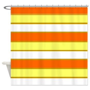 Orange, Yellow and White Stripes Shower Curtain by Khoncepts