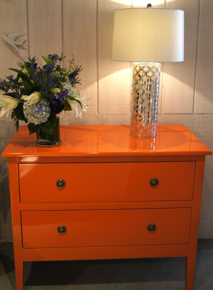 It doesn't get any hotter than this orange lacquer Gabrielle Commode from #TritterFeefer located in Interhall 402 #hpmkt #stylespotter