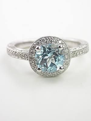 Aquamarine Wedding Rings | Antique Style Aquamarine Engagement Ring