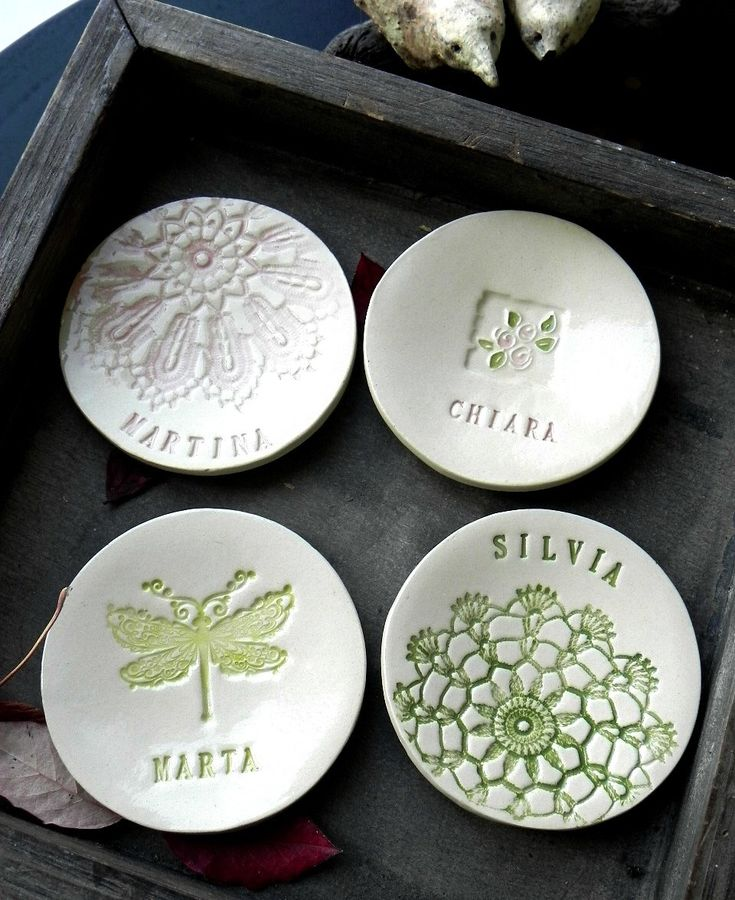 Excited to share the latest addition to my #etsy shop: Personalized Bridesmaid Ceramic Ring Dishes Green Lace Pottery Bridal Plate Wedding Gift Jewelry Dish