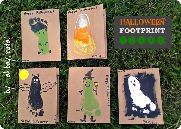 halloween footprint ideas.  witch foot, ghost foot, candycorn foot, frankensteins monster foot, bat foot...