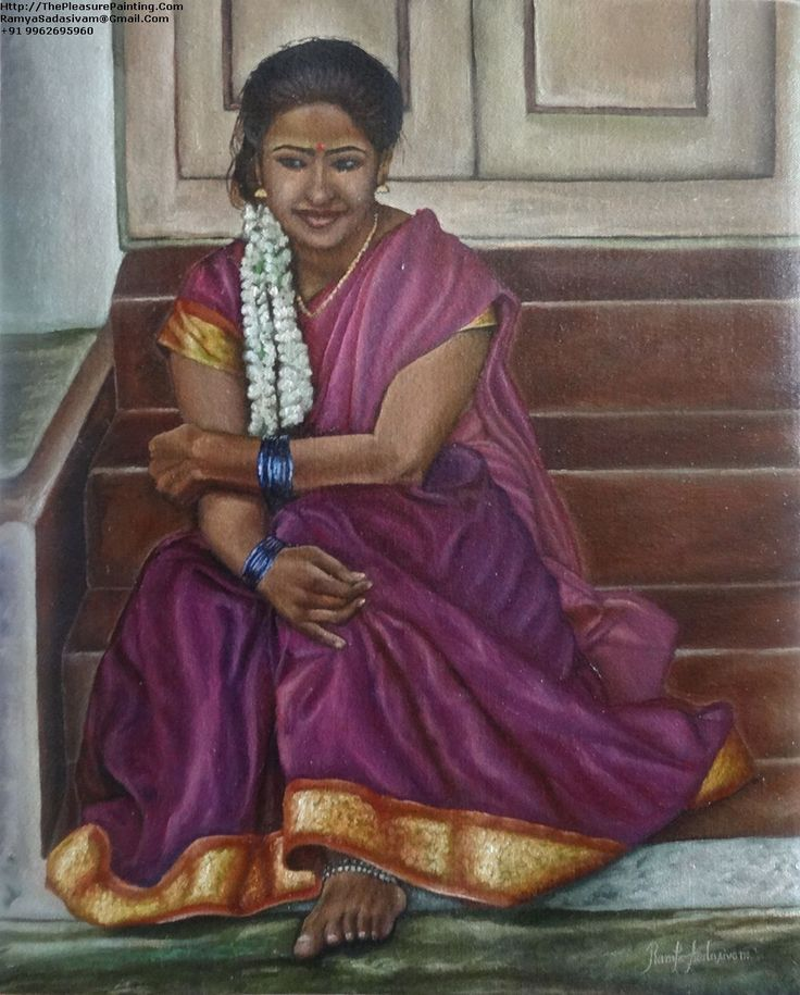 GIRL SITTING IN THE STAIRS, 20 & 16 Inches, Oil on Canvas, A sweet young little girl sitting on the stairs, thinking about something. She may be thinking about the boy she met at the recent festival. The tall, dark and handsome boy who just crossed her giving her a sly smile.