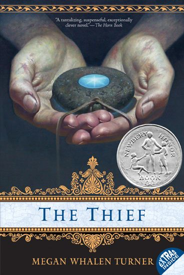 The Thief by Megan Whalen Turner -- Meet Gen, a clever, charming thief. Freed from the King of Sounis's prison to steal a mythical stone that could decide the fate of another kingdom. Politics & gods, stories & secrets - all play out in a Byzantine setting. Request it at http://eisenhowerlibrary.org/ or by calling the Answers desk at 708.867.2299