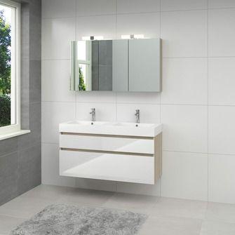 Bruynzeel Monta badmeubel 120 cm grijs eiken / hoogglans wit | Badkamermeubelen | Badkamermeubelen | Sanitair | KARWEI