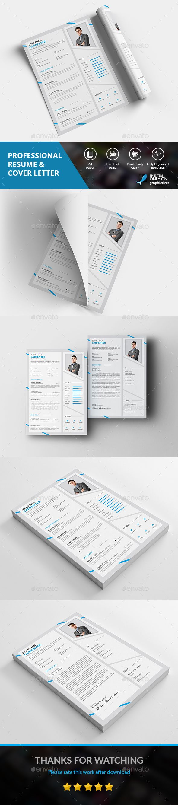 #Professional #Resume - Resumes #Stationery Download here: https://graphicriver.net/item/professional-resume/19504913?ref=alena994
