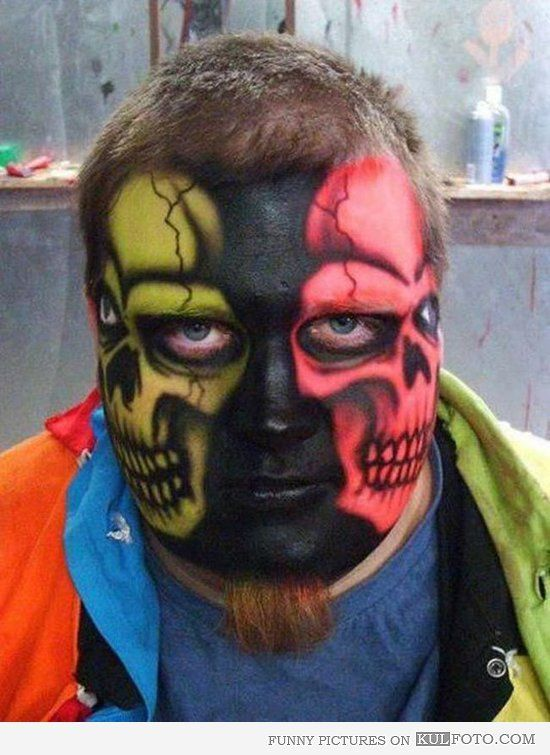 halloween face makeup | Two face make up - Funny guy with two scary faces make up.