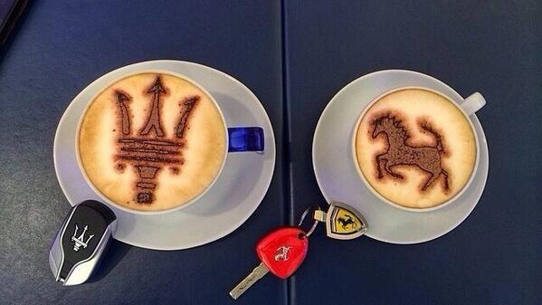 Maserati and Ferrari Coffees! Great #Coffeeart