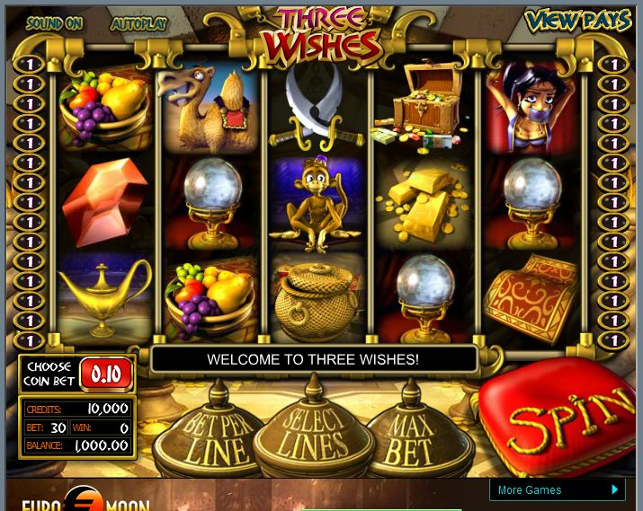 Enjoy #Three Wishes Slots Game and add fun to your free time! FreeGames.Casino is the ultimate source where you can experience this amazing game with exciting sound effects, 3D graphics and bonus options. Play it now and increase your winning odds. Hurry up! http://www.freegames.casino/#!three-wishes/ci72