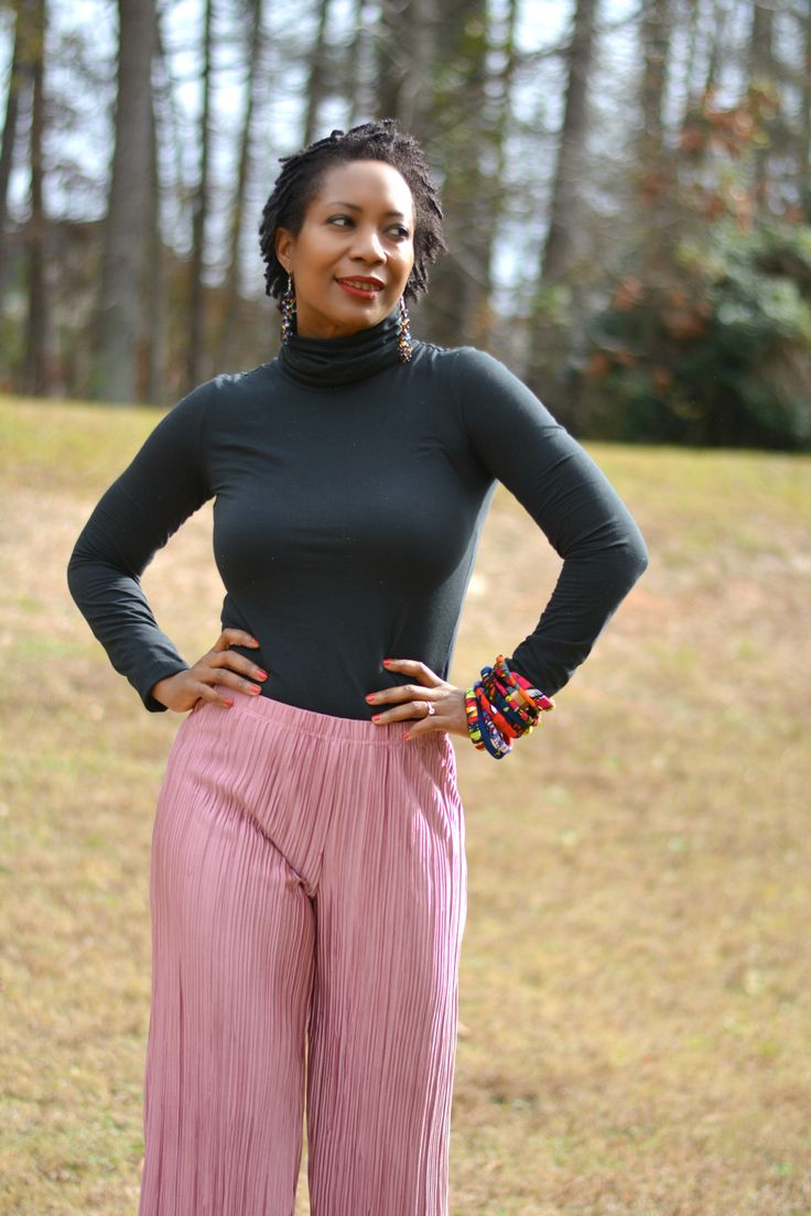 pink culottes in winter