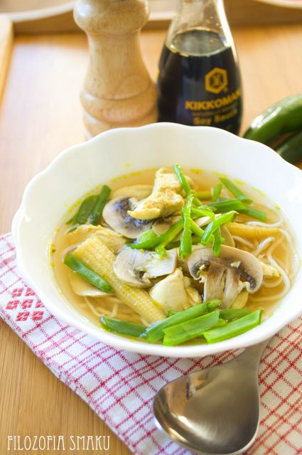 Chinese soup with chicken and noodles   Philosophy taste