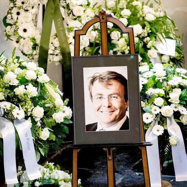 A picture of Netherlands' Prince Johan Friso is displayed during his funeral service at the Stulpkerk church in Lage Vuursche, on 16 Aug 2013.