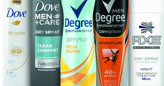 Score great deals on Dove, Degree or Axe dry spray deodorants and antiperspirants!
