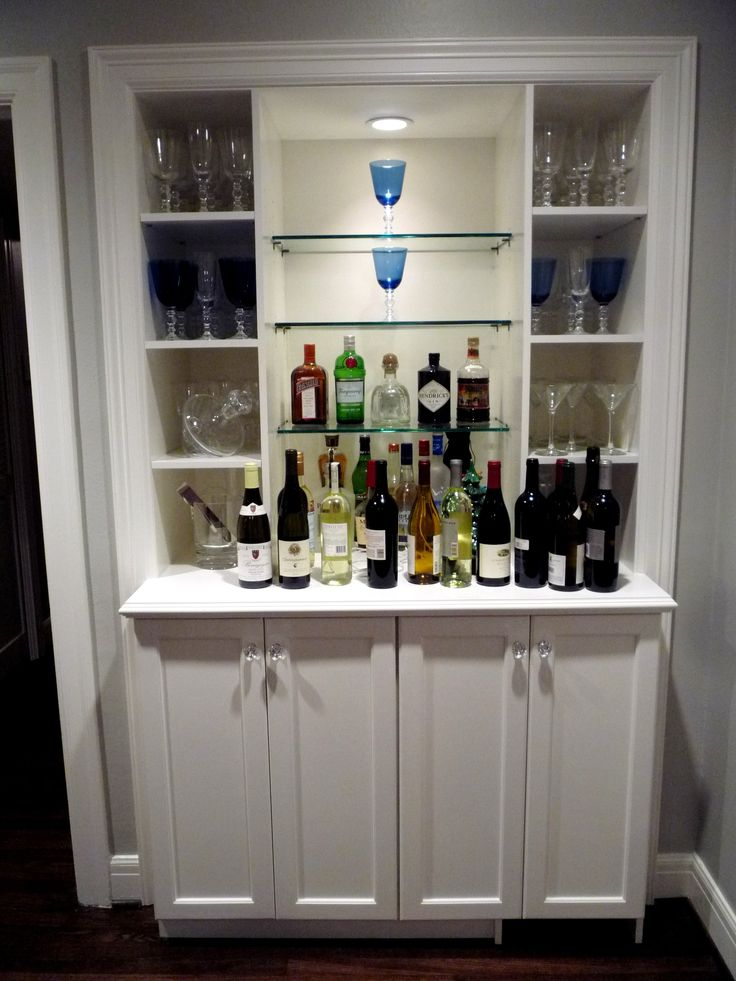 17 best images about glass shelves on pinterest floating glass shelves shelves and liquor bottles - Bar built into wall ...
