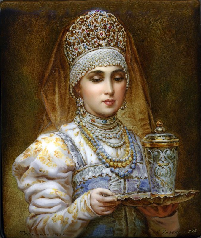 Russian Painting.: Paintings Art, Fedoskino Russian, Russian Beautiful, Art Russian, Russian Blue, Beautiful Paintings, Russian Costumes, Russian Paintings, Russian Lacquer