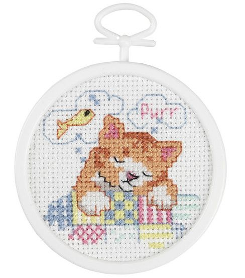 """Dreaming Kitty Mini Counted Cross Stitch Kit-2-1/2"""" Round 18 Count"""