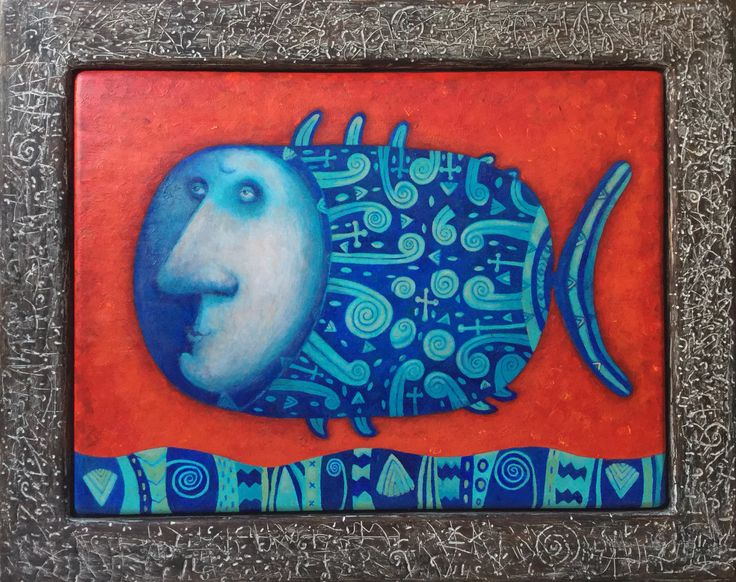 """Pavel Nikolaev, """"Fish"""", 60х80(80х100), oil, wood, 2015."""