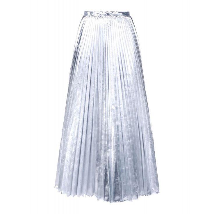 DKNY Silver Pleated Skirt - Metallic Midi Skirt - ShopBAZAAR