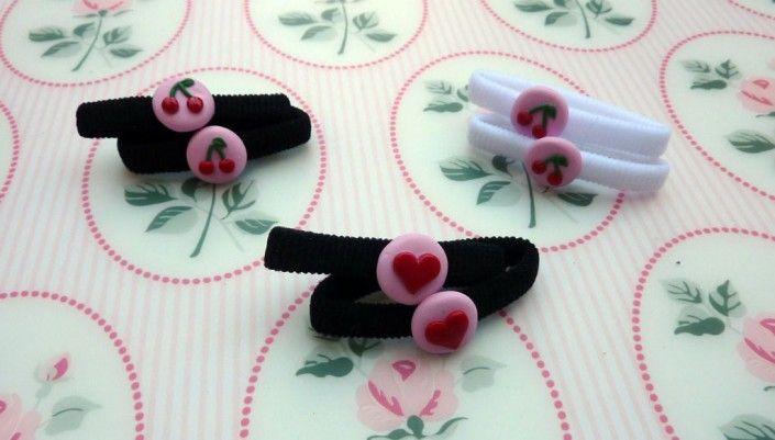 Hair bands with hearts and cherries in polymer clay handmade - Lacci per capelli con cuori e ciliegie in fimo fatti a mano
