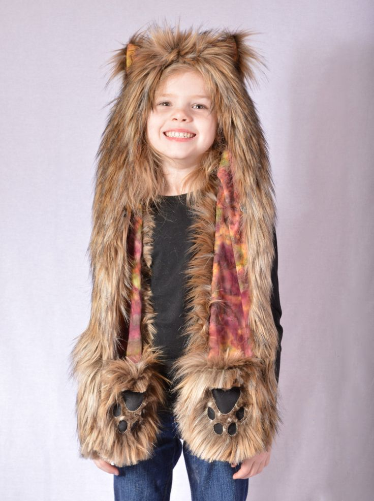 Childrens Coyote Faux Fur Animal Hat With Scarf And Paw