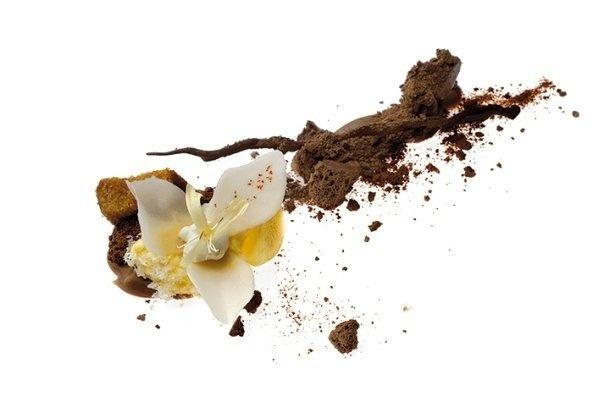 Una orquídea de croquant de yogur con helado de azafrán y  bizcocho de miel caramelizada sobre un cremoso de chocolate con  leche y rocas de espuma-LYO de chocolate. #AlbertAdria #NaturaBook #dessert