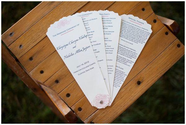 chic fan wedding program