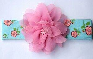 Light blue brede elastische haarband met een xl bloem - Hip en Haar