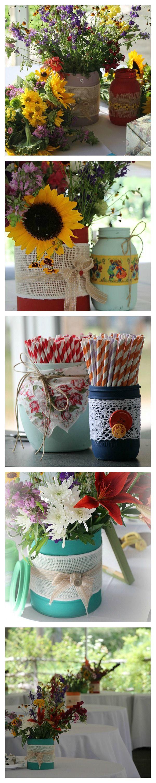 Scrapbook ideas recycled -  Recycledcans Masonjars Vintagelinens Burlap Gardenthemed Wedding Ideas