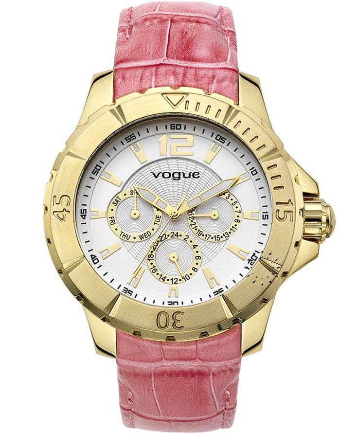 VOGUE City Gold Pink Leather Strap Η τιμή μας: 185€ http://www.oroloi.gr/product_info.php?products_id=31588