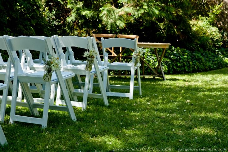 Ceremony at Chateau Dore with our folding chairs and oak registry table and chairs