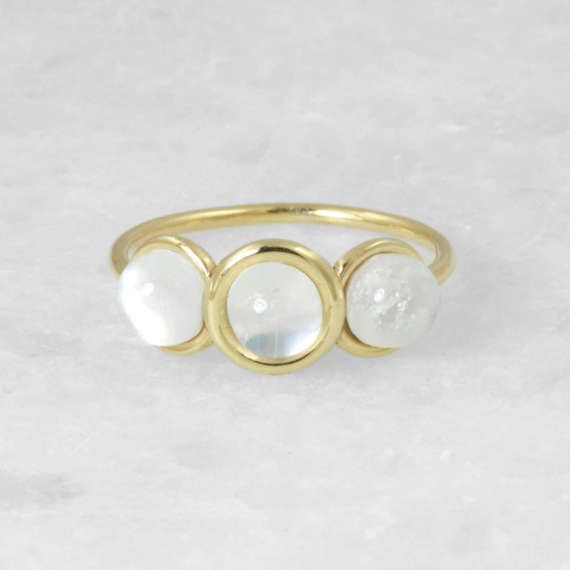Triple Rainbow Moonstone Statement Ring, Yellow Gold 14 karat Ring, Round Gold Handmade Ring, Bridal Fine Jewelry, Wedding Gift Jewelry