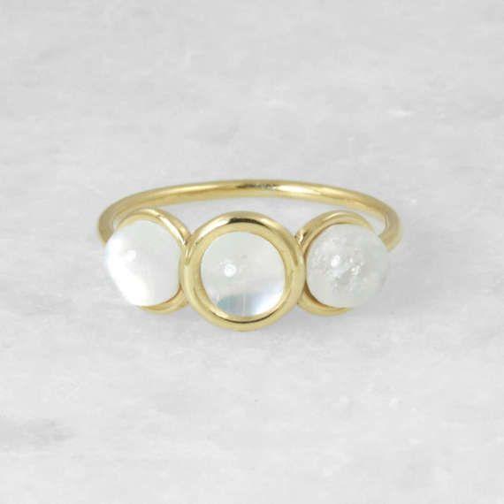Triple Rainbow Moonstone Statement Ring, Yellow Gold 14 karat Ring, Round Gold Handmade Ring, Bridal Fine Jewelry, Wedding Gift Jewelry