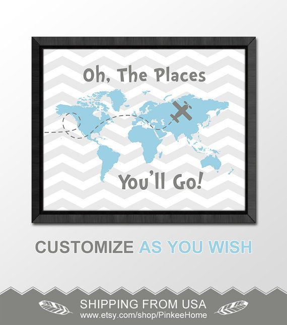 gray blue oh the places youll go dr seuss quotes kids world map chevron baby nursery decor inspirational baby boy nursery baby gift idea by PinkeeHome
