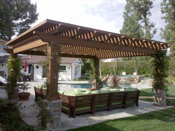 pergola jardin piscine bois mobilier