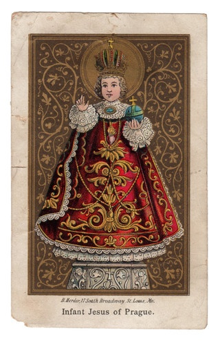 He is on of my favorites---Infant Jesus of Prague Vintage Holy Card