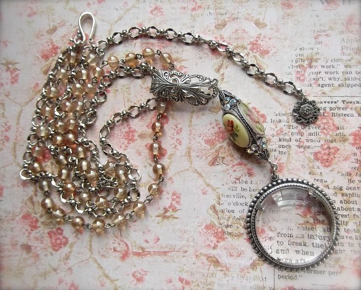 Spinner Necklace, BSue by 1928, Romantic Silver Spinner, Floral Cameos, Vintage Cameos, Glass Rosary Chain, Magnifier Pendant, by MockiDesigns on Etsy