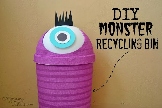 DIY recycling bin for kids. http://www.mommytesters.com/2013/10/diy-monster-recycling-containers-fun.html