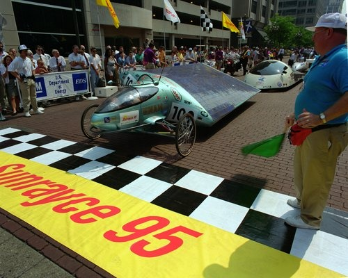 Sunrayce '95 featured solar-powered vehicle racing from Indianapolis to Aurora Colorado. A tracking system was developed to determine the location and speed of each vehicle with the results being placed on the Smithsonian's website.      39.767211°N  86.158101°W