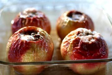Classic baked apples filled with pecans, cinnamon, raisins, butter, and brown sugar.