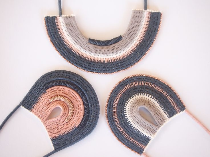 The Seed Bead Collection-Dusty Tones. Woven Rope necklaces by Philippa Taylor. Ouch Flower