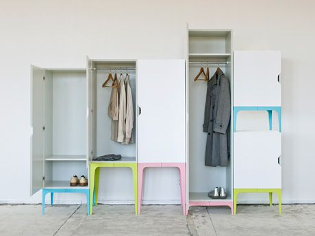 Designed by Matthias Ries, Modrobe is a modern white storage collection with saturated pastel accents.    Modrobe is – as its name already suggests – a modular wardrobe system.  Compared to the chunkybig and rectangular wardrobes Modrobe is a relatively light and flexible solution. The legs help to optically make the room more spacious and breathing.