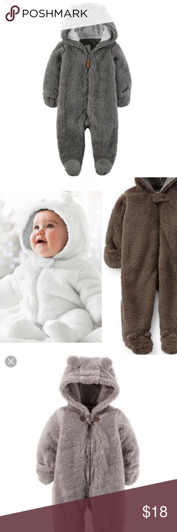 Sherpa baby bear suit 3 months Super cute. Only worn 1-2x. Gray/brown color. Unisex. 3 months. carters One Pieces
