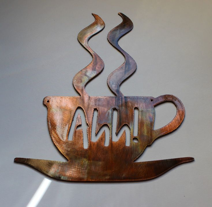 """""""Ahh! Coffee Metal Wall Art"""". two small drill holes are added to aid in hanging. UP FOR SALE IS A NEW METAL ART PIECE. Another New Piece from Heaven's Gate Metal Works from. THIS PIECE IS MADE OUT OF 14 GAUGE SHEET METAL."""