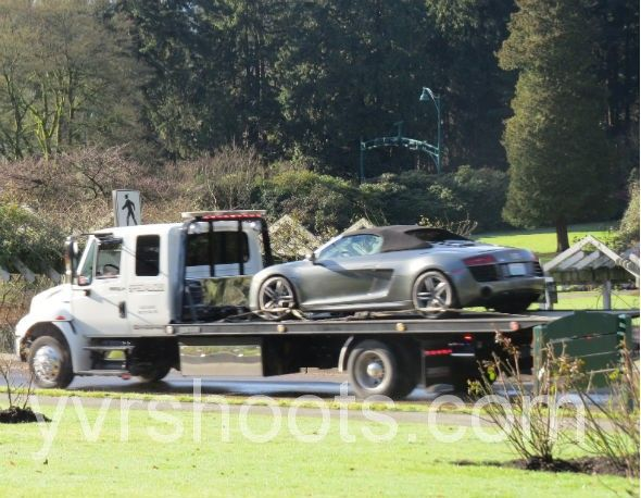 SHOOT: FIFTY SHADES OF GREY in Stanley Park with Christian Grey's Audi