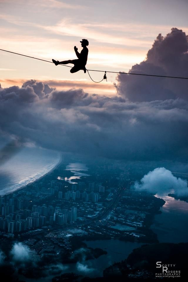 @Mrslackline High above the city, in that cloudy dream state between separate realities.photo by Scotty Rogers - www.scot...