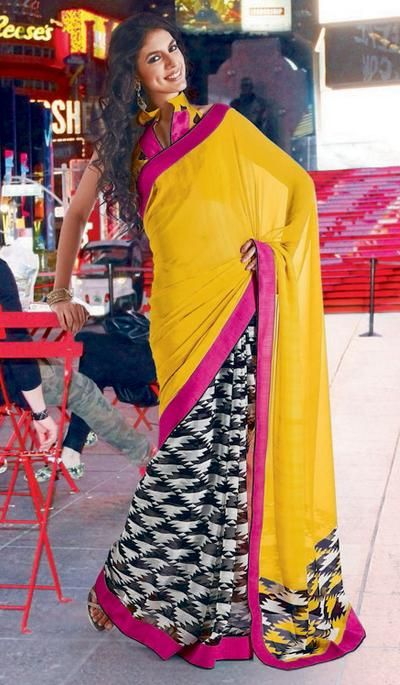 G3 Fashions Yellow black white georgette printed designer sarees Product Code : G3-LS13603 Price : INR RS 1251