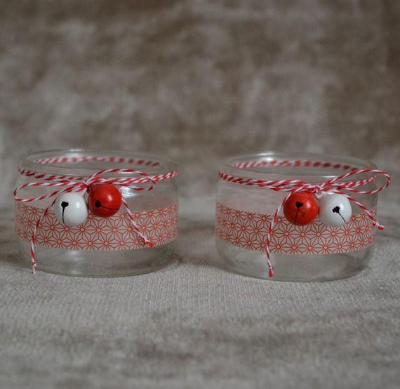 Photophores en verre rouge et blanc - Noël - masking tape - baker twine