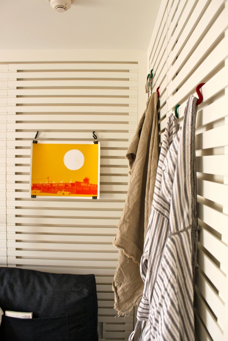 {slatted walls} for kids' rooms can be fitted with shelves, hooks, display clips and more.