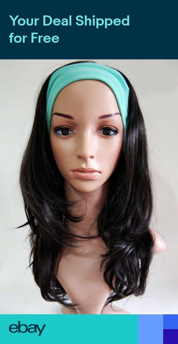 W60 Jet Black 34 Wig Hair Fall Long Layered Wavy Half Wig Hair Piece studio7-uk
