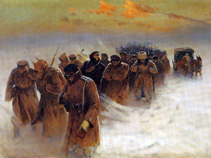 Rusos blancos retirándose de Novocherkassk, Enero de 1920 Autor Mitrofan Grekov. Más en www.elgrancapitan.org/foro